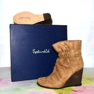 SPLENDID Suede Wedge Cinched Front Boot New in Box